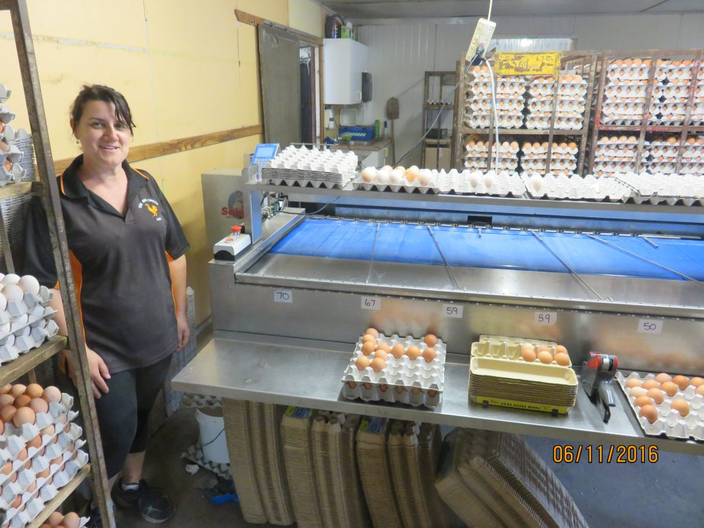 Lucy Muscat in front of newly installed Riva Selegg S91 egg grader
