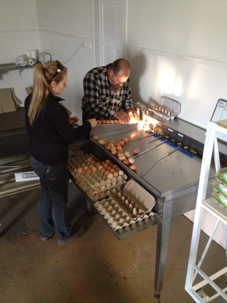Riverina egg producers, the Wooden family, with their new egg grader